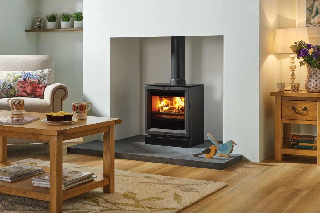 multfuel stove in living room