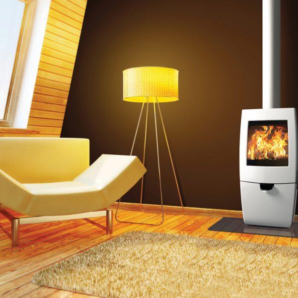 Dovre Sense 200 stove with log box